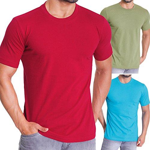 celodoro - Confezione da 3 t-shirt da uomo - regular fit - acqua/muschio/cremisi - L