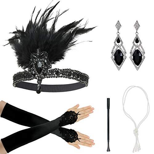 Zivyes 1920er Jahre Zubehör Set Flapper Stirnband Halskette Handschuhe Zigarettenspitze Kostüm Zubehör für Frauen (Kostüm Jahre 1920er Frauen)
