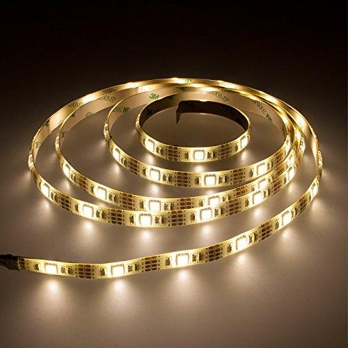 Smartfox LED Strip Leuchtstreifen Lichtband Leuchte Deko 100cm batteriebetrieben selbstklebend in warmweiß