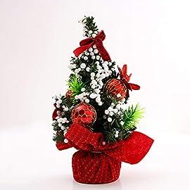 cba591bf9d BESTQIAO Piccolo Natale Albero di Scrivania, Artificiale Mini Albero di  Natale Decorazione di Natale per Coperta