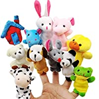 JZK 11 Animal finger puppet set small plush toy animal hand puppet for children kids party favours birthday party bag fillers