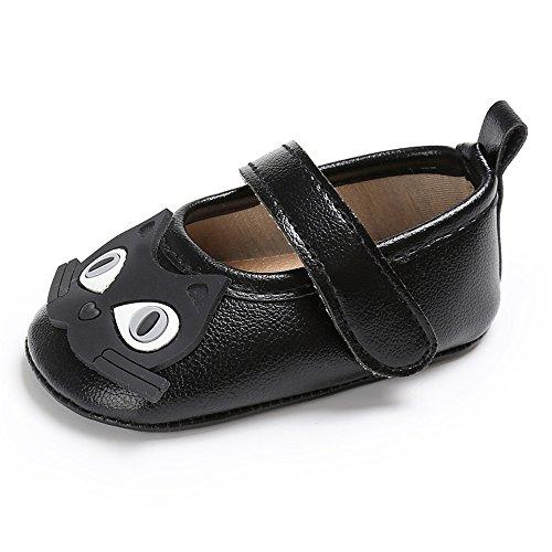 Estamico Baby Mädchen weiche Leder Karikatur Katze Prewalker Schuhe Kleinkind Sneakers Schwarz 0-6 Monate (Jane Katze Mary Schwarze)