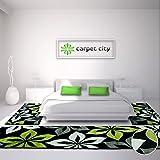 carpet city Bettumrandung Teppich-Läufer Flachflor Kurzflor Moda mit Blumen-Muster in Grün, Schwarz, Grau, Weiß für Schlafzimmer, 3-teilig, Läufer-Größen: 2X 80x150 cm, 1x 80x300 cm