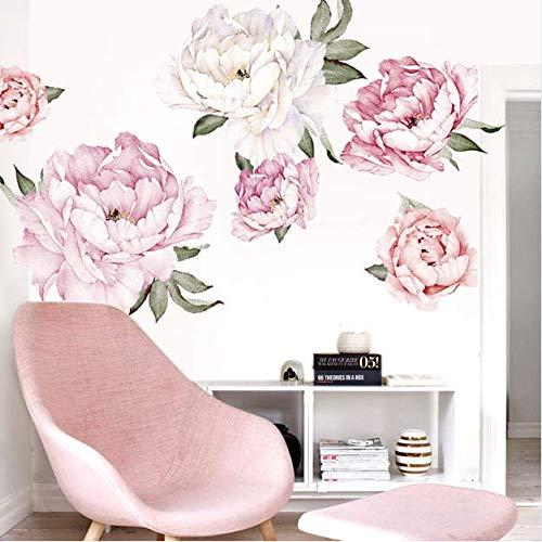mkqqq135 Rosa Moderne Wohnzimmer Dekor Wandkunst Pfingstrose Blumen Wandaufkleber Wandbild DIY Kunst Schlafzimmer Dekoration Hochzeit Zubehör 80cm*80cm
