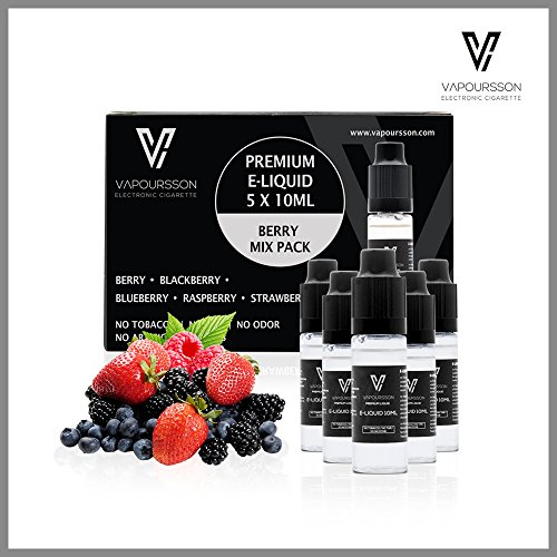 VAPOURSSON 5 X 10ml E Liquid Berry Pack | Berry Mix | Blueberry | Blackberry | Raspberry | Strawberry | Only High-Grade Ingredients | VG & PG Mix | Made For Electronic Cigarette and E Shisha