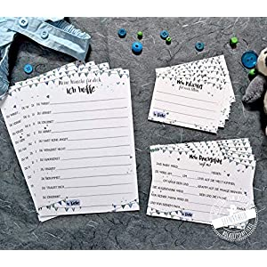 Babyparty Baby-Shower Geschenk Partyspiel 30 Karten für Gästebuch Wünsche, Ratschläge, Ratespiel