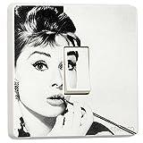 Audrey Hepburn Celebrity Decorative Design for Single Light Cover, Self-adhesive Vinyl Skin Sticker