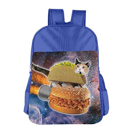 bestuu & Me Kid Taco Katze Platz Funny Schulranzen Schultasche für 4–15Jahre alt royalblau Blau Königsblau (Anzug Taco)