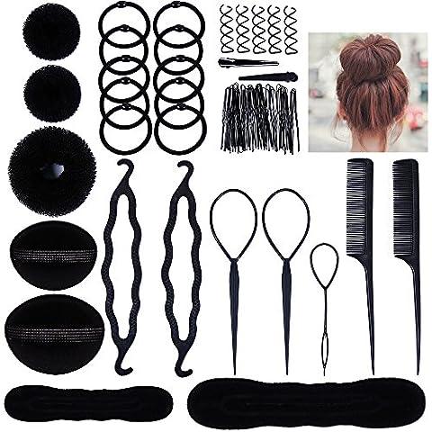 Lictin Hair Styling Set, Fashion Hair Design Styling Tools Accessories DIY Hair Accessories Hair Modelling Tool Kit Hairdress Kit Set Magic Simple Fast Spiral Hair Braid Hair Braiding