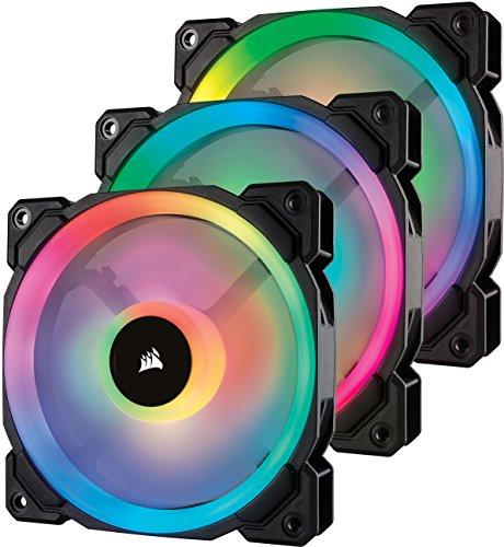 Corsair CO-9050072-WW LL120 120 mm Dual Light Loop RGB LED PWM Fan - Black, (Pack of 3)