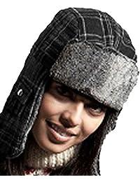 New Mens Ladies Unisex Fur Trim Alfie Check Winter Trapper Hat Brown 58cm