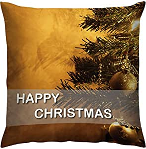 Right Happy Christmas Printed Polyester Cushion Cover - 16 inch x 16 inch