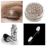 Stargazer Gel per fissaggio di ombretto glitterato + ombretto glitterato + pennello per trucco per occhi, viso e corpo immagine