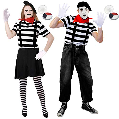 Deluxe French Mime Artist Couples Fancy Dress Costume Set
