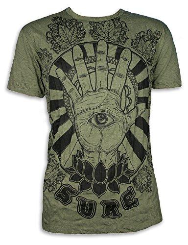 Sure Camiseta Hombre El Tercer Ojo Talla M L XL Hamsa Fatimas Mano Yoga Boho (M, Ejercito Verde)