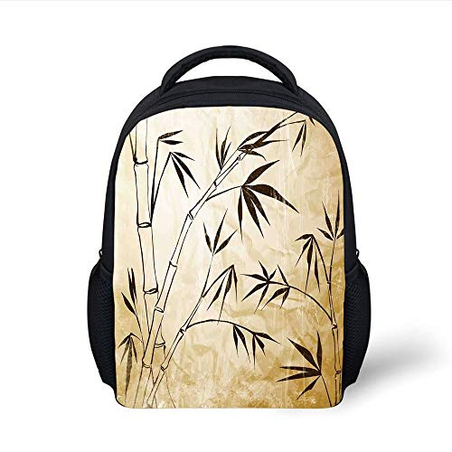 598b34918d56 Kids School Backpack Bamboo House Decor,Gradient Bamboo Leaves Flexibility  Complex Root Structure Stable Travelers Image,Brown Cream Plain Bookbag ...