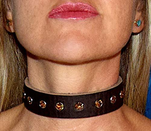 Edles Halsband Halsschmuck Schmuckhalsband Leder-Schmuck mit SWAROVSKI Kristallen/Steinfarbe: Topaz