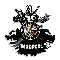 RUIXINBC Character Vinyl Record Wall Clock, Movie Character Deadpool Theme Vinyl Record Wall Clock Retro Living Room Decoration Mute Wall Clock Gift