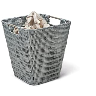 Adam Schmidt Wicker Trash, Paper Pails, Buckets and Baskets, Waste Basket, from Poly Rattan, Dimensions 270 x 270 x 300 mm, Grey