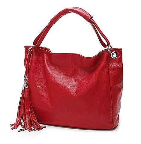 Padgene Modisch Fransen Dekor Damen Schultertasche Handtasche Henkeltasche Shopper (Rot)