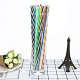 Ouneed- 25pcs Colorful Reusable Hard Plastic Stripe Drinking Straws Party Decoration for Juices Shakes Wedding
