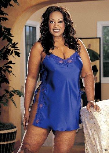 Shirley Hollywood Charmeuse Babydoll (Shirley of Hollywood Nummer X20015Größe 3X Electric Blue Charmeuse Schnürschuh Chemise)