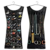Drake Double Sided Little Black Dress Style Hanging Jewellery Organizer and Makeup Accessories (Black