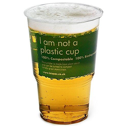 Biopac Biodegradable Half Pint Tumblers CE 10oz / 285ml - Set of 70 - Disposable Cups, ...