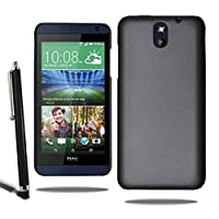 Armour Hard Back Case Plastic Skin Cover HTC Desire 610 & Screen Protector + Stylus (Black)