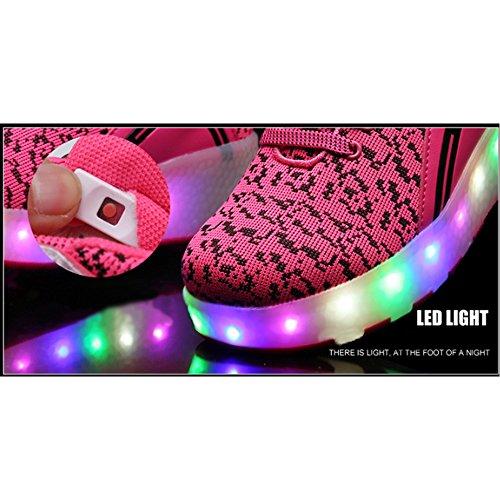 Unisex Schuhe mit Rollen Kinder Skateboard Schuhe Rollschuh Schuhe LED Light Wheels Sneakers Outdoor-Trainer für Junge Mädchen Ein Rad / Blau