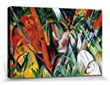 1art1 57258 Franz Marc - Im Regen, 1912 Poster Leinwandbild Auf Keilrahmen 120 x 80 cm
