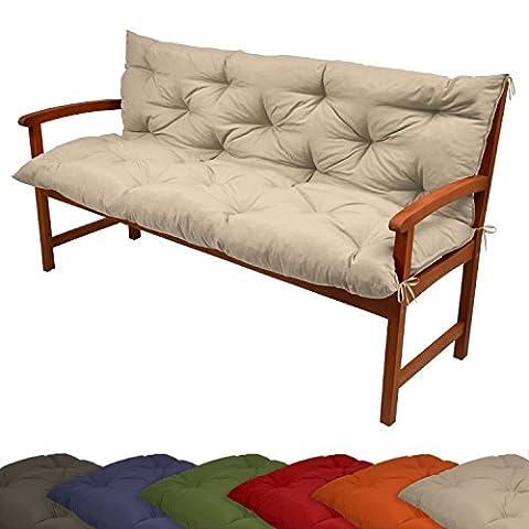 Beautissu Coussin pour banc de jardin, terrasse, balcon Flair BR - balancelle - Banquette - Assise confortable - 100x100x10cm, Nature