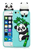 3C Collection Coque Iphone 5S Silicone Panda, Coque Iphone 5SE Silicone Panda, Animaux Kawaii 3D Panda Housse pour Iphone Se 5 5S Antichoc Silicone Vert Filles