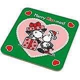 Sheepworld - 49580 - Untersetzer, Weihnachten, Schaf, Merry Kiss-mas!, Kork, 9,5cm x 9,5cm