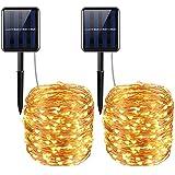 AMIR Solar Luz Cadena, 20m 200led 8modo alambre de cobre Cadenas de luz multicolor, batería Alimentado por String Lights para interior, Jardín, boda, fiesta, navidad, etc., Zwei Stück