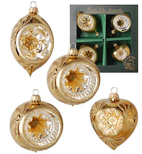 Krebs Glas Lauscha Reflexsortiment in Gold - 2 Kugel-, Herz- & Olivenform - Christbaumschmuck - Weihnachtsbaumschmuck - Größe: 9cm