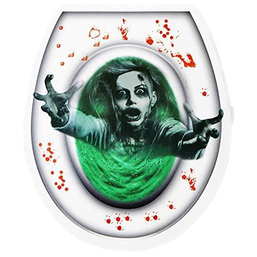 WIDMANN 05808 Toilettendeckel Aufkleber Zombie, Unisex- Erwachsene, Mehrfarbig