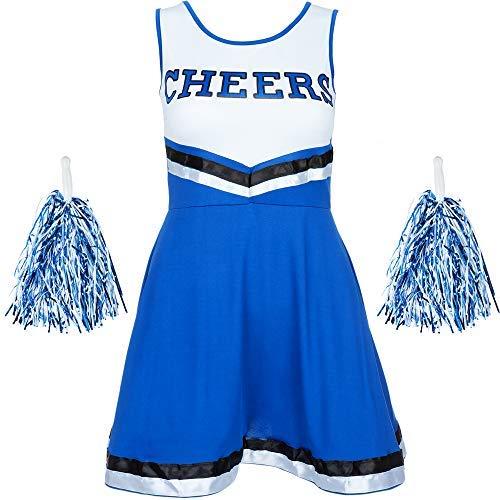REDSTAR FANCY DRESS Damen Cheerleader Kostüm Outfit mit Pom Poms Halloween Kostüm American High School Musical Sport Verfügbar in den Größen 6-16 and 6 Farben - Blau, M
