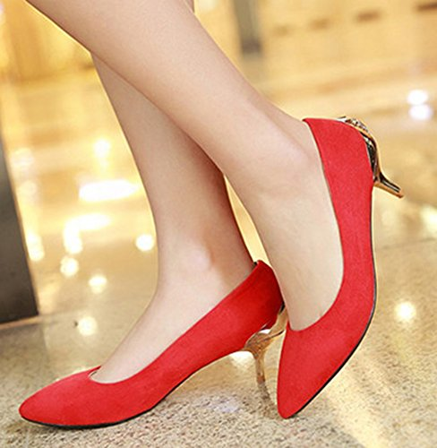 Aisun Damen Elegant Strass Metall Geschmückt mittlerer Absatz Spitz Zehen Pumps Rot