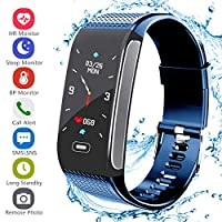 Janker Fitness Tracker, Smart Watch Bracelet Wristband With Pedometer Heart Rate Monitor Step Calorie Distance Track Waterproof Call SMS SNS Remind For Men Women Kids Compatible Android IOS Blue