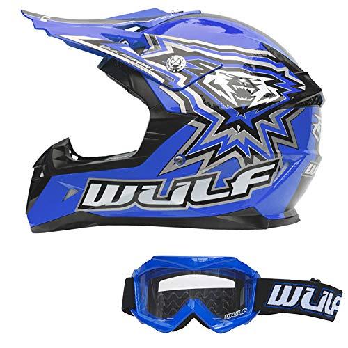 WULFSPORT Kinder Flite Motocross Motorradhelm + Kinder Brille Blau S (47-48cm) Off Road Quad Bike...