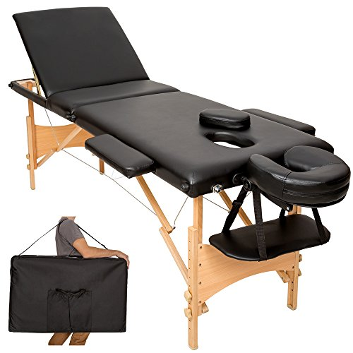 TecTake Table de massage 3 zones pliante cosmetique lit de massage portable + housse de transport - diverses couleurs au choix - (Noir | No. 401466)