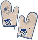 2 tlg. Set _ Topfhandschuhe - ' lustige Eulen ' - mit extra langen Schaft / Topflappen - für die Küche - Topfhandschuh - 100 % Baumwolle - bunt Eule - blau - lang / Ofenhandschuh - Küchenhandschuh - Ofenhandschuhe