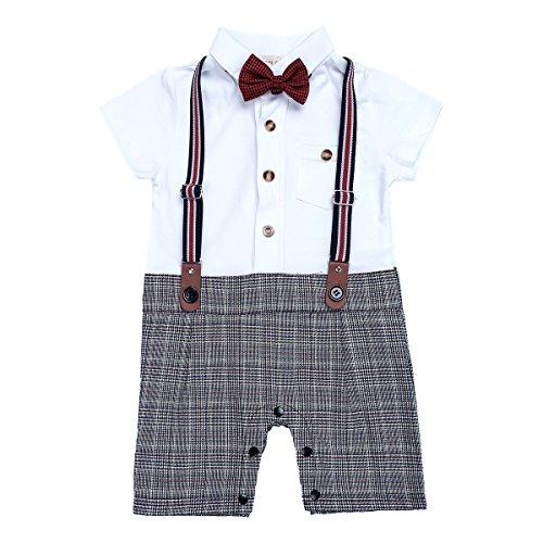 iEFiEL Conjunto Pelele Pantalones de Tirante a Cuadros Mono Algodón Traje Bautizo Fiesta Boda para Bebé Niño (9-24 Meses) Nacién Nacido Gris 18-24 Meses