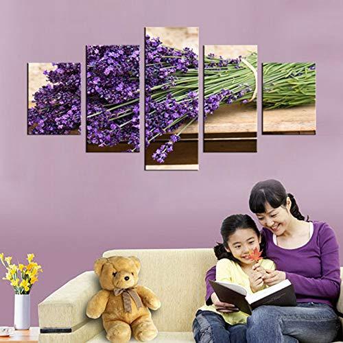adgkitb canvas 5 Panel Romantik Lavendel Wandbild Kunst Dekoration Wohnzimmer Leinwanddruck Moderne Malerei