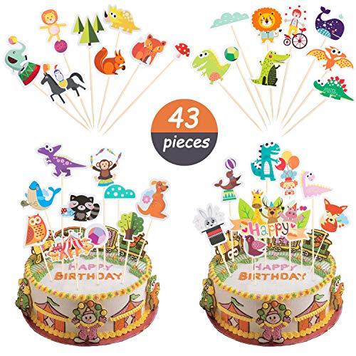 Comius 43 Stück Netter Tier Kuchen Deckel, Tiere Freunde Kuchen Deckel für DIY Geburtstag Party Decor Festliche Partydekoration