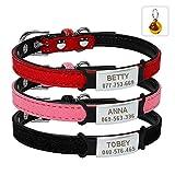 Berry Premium Soft Suede Hundehalsband, verstellbar, mit Schnalle ID-Tags, Hunde-Halsband, Anhänger mit ID-Tags für Hunde und Katzen, Schwarz, Rot, Rosa, XXS, XS, S
