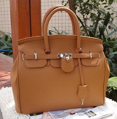 Design imitation cuir à main fourre-tout haute qualité Sac à main sac à main pour femme avec verrou avec bandoulière Marron