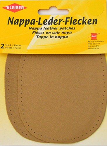 Beige Nappa-leder (Kleiber Ellbogen- und Knieflicken aus Nappaleder zum Aufnähen, 12,5 cm x 10 cm, Beige, 2-er Set)