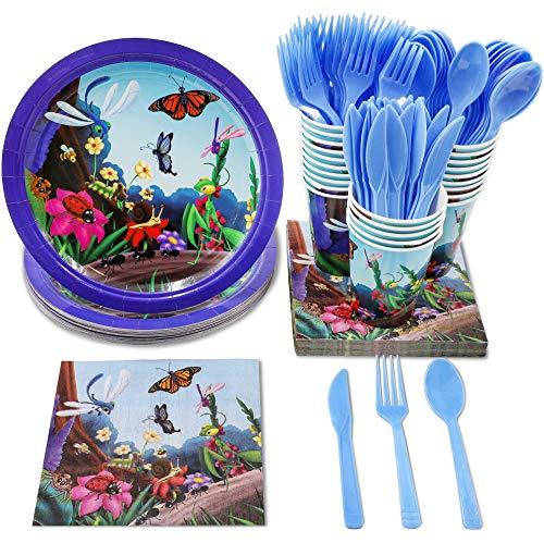Juvale Einweggeschirr-Set - für 24 Bugs Party Supplies, inklusive Kunststoffmesser, Löffel, Gabeln, Pappteller, Servietten, Becher (Servietten Und Pappteller)